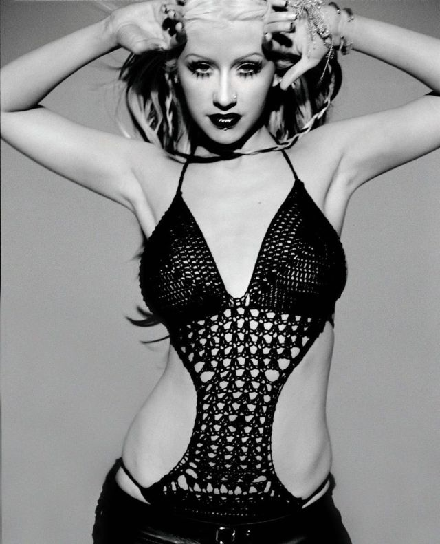 Christina Aguilera crochet swimsuit