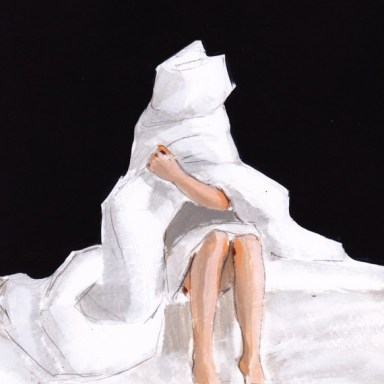 Wrapped, large image sewn print