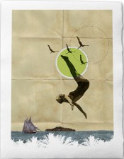 Summer -Fine Art Collage Illustration Print Handmade Paper 20x30cm-8x12, Woman in Bathing suit jumping into Water at the beach