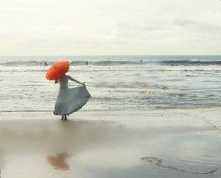 The Red Umbrella at the Edge of the Sea 8x10 Fine Art Photograph