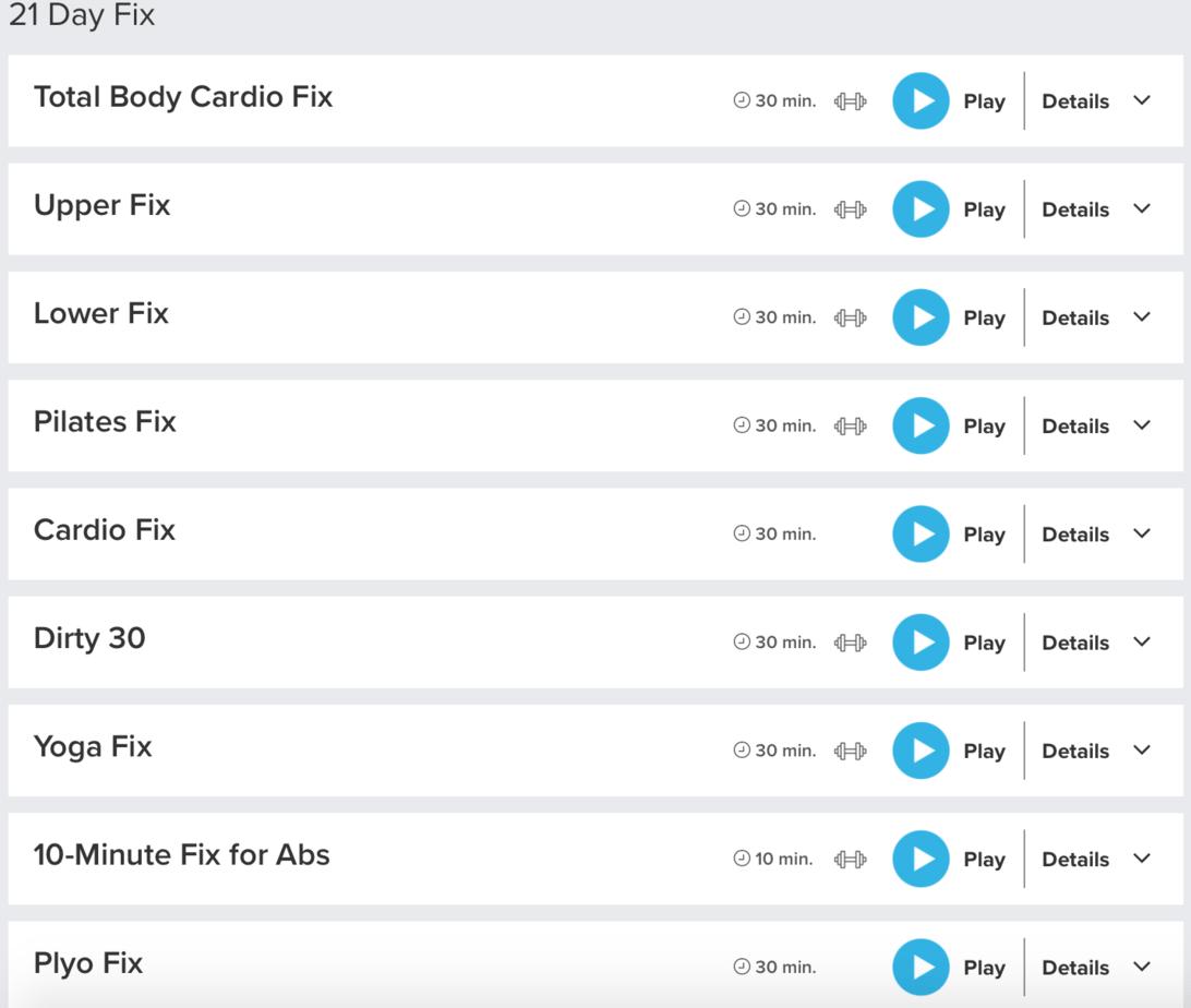 21 Day Fix Workout Sheet