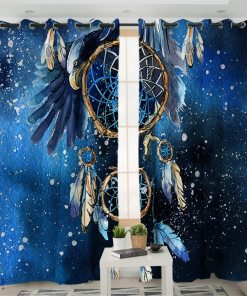 BeddingOutlet Dreamcatcher Boho Living Room Curtains Feathers Blue Galaxy Curtain for Bedroom Bald Eagle Window Treatment