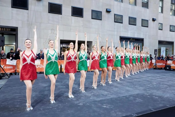 Katie Hamrah (fourth from the left) and fellow Rockettes performing on The Today Show