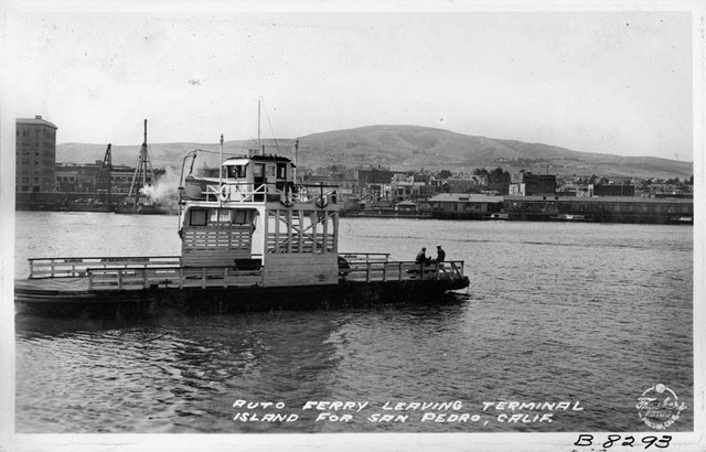 Auto Ferry Leaving Terminal Island for San Pedro, 1937 (Photo Courtesy: Pomona Public Library)