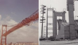Vincent Thomas Bridge under construction in 1963. (photo courtesy San Pedro Bay Historical Society)