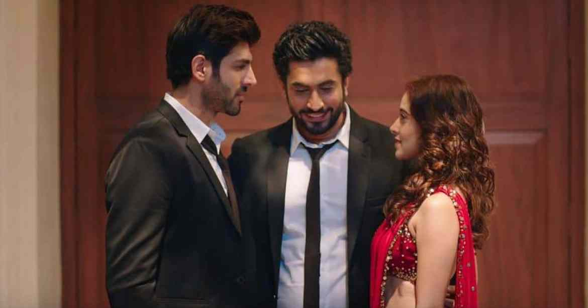 Kartik Aaryn, Nushrat Bharucha, and Sunny Singh in a movie still