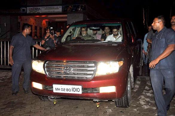 Amitabh Bachahn with Abhishek Bachchan in his car