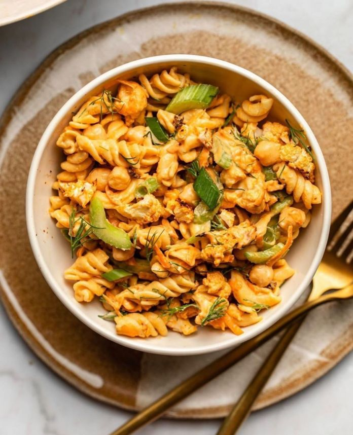 Buffalo Cauliflower Pasta Salad