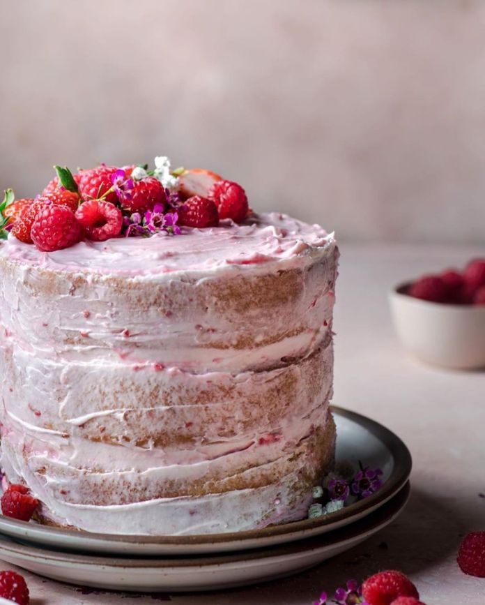 Vegan Vanilla Raspberry Cake with Raspberry Jam
