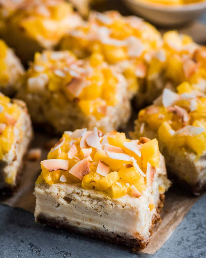 Vegan Piña Colada Cheesecake Bars with Macadamia Nuts by Rainbow Plant Life