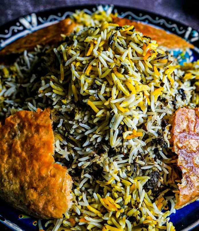 Sabzi polo (Fresh herb and garlic rice), vegan persian cuisine