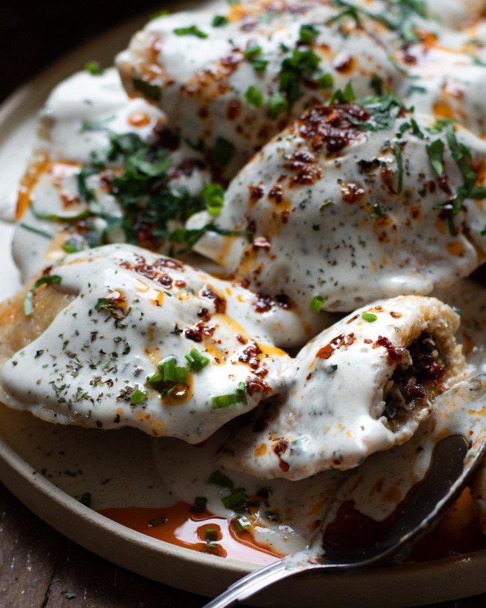Vegan Kutilk (Kurdish Bulgur Dumplings in Warm Mint-Yogurt Sauce topped with Chili Butter)