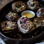 All About the Veg: Vegan Sumac Roasted Artichokes with Salted Pistachios & Roasted Garlic Butter