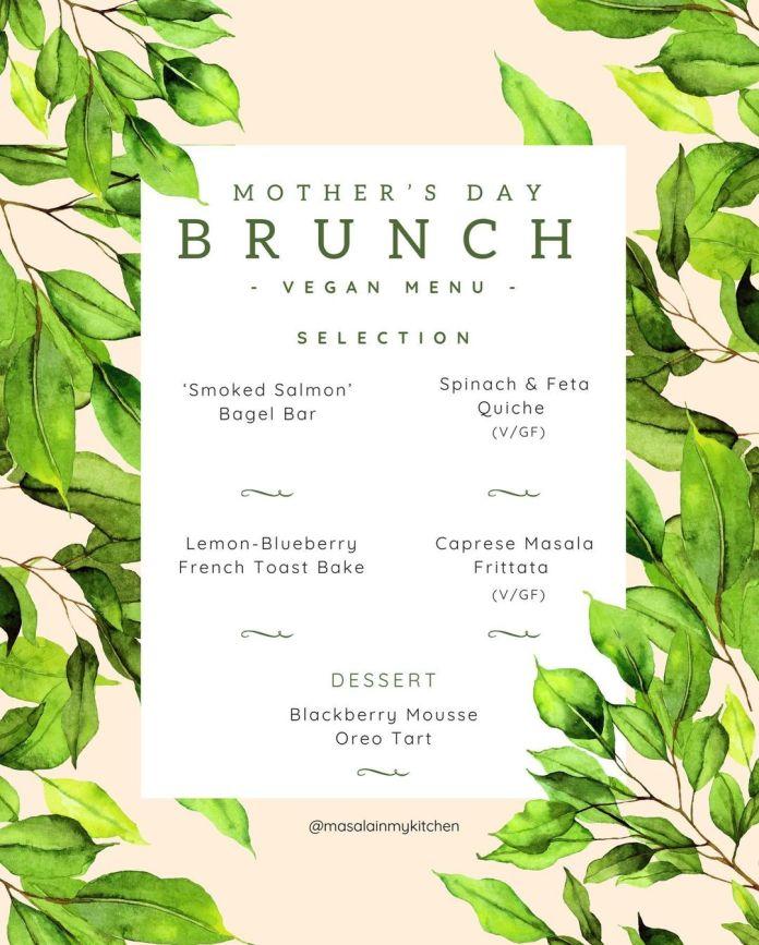 Mother's Day Vegan Brunch Menu