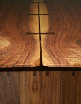 Bookmatched walnut top with wenge butterfly keys and a hint of shaping to accentuate the grain.