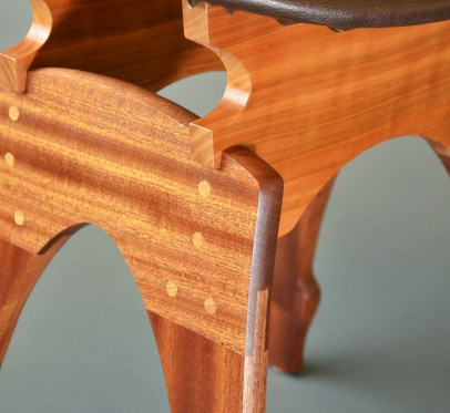 Curves and joinery where cherry and luscious mahogany come together.