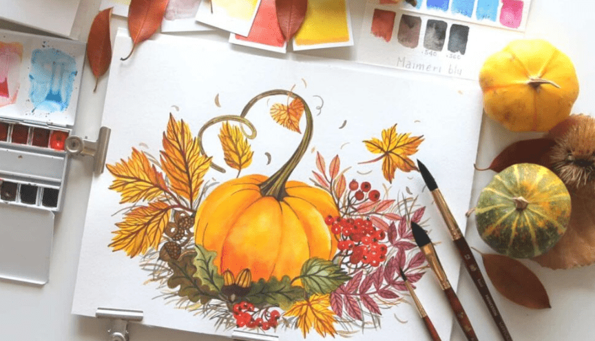 Painting a pumpkin with watercolors