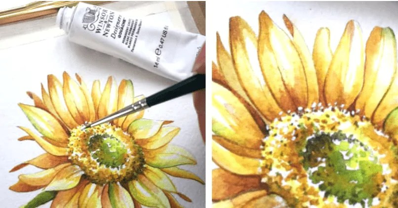 Painting a Sunflower with watercolor