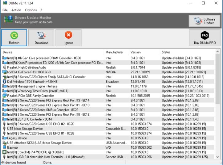 DUMo Update Monitor software