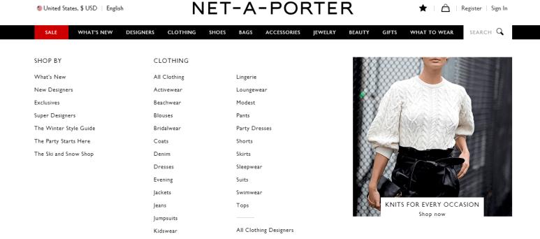 Net-A-Porter women clothing site