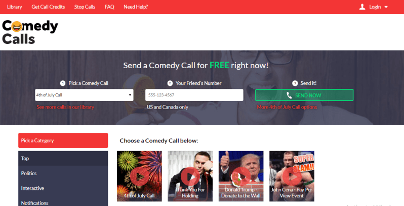 comedy calls prank call site