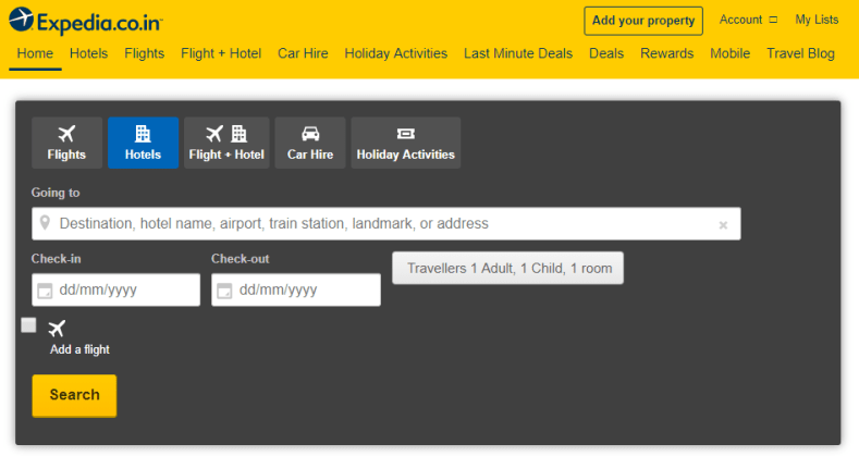 expedia hotel booking site