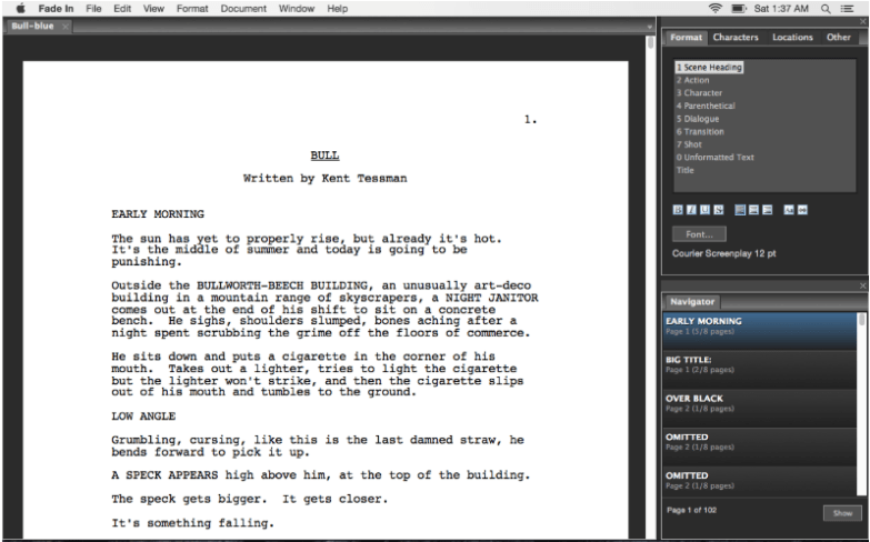 fade in professional screenwriting software for mac