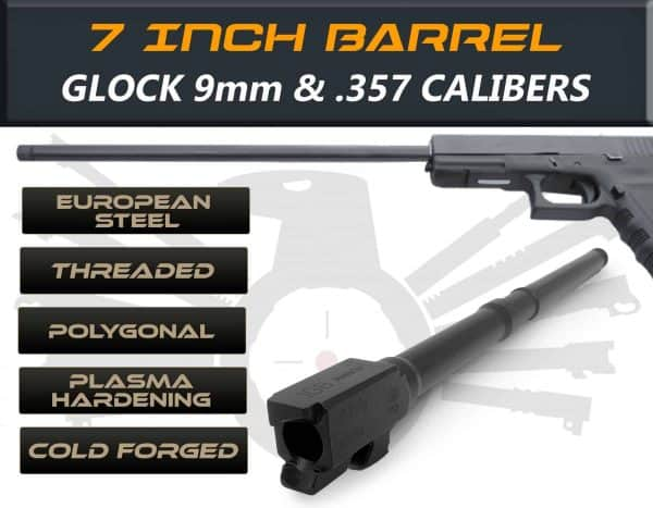 "Gen 3 & 4 Glock 7.5"" Barrels IGB Austria Match Grade Polygonal 7.5"" Threaded Barrel For .9mm & .357Sig Calibers"
