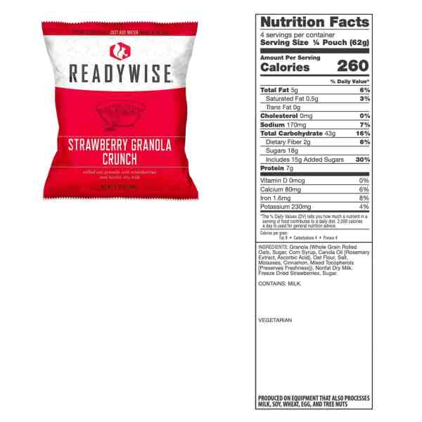 1 pouch of Granola Strawberry Crunch (4 Servings) by Readywise