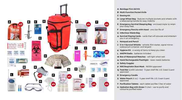 4 person deluxe survival grab and go bag