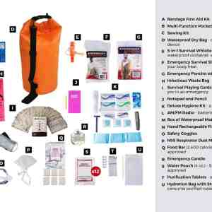 1 Person Deluxe Survival Kit (72+ Hours) Waterproof Dry Bag list