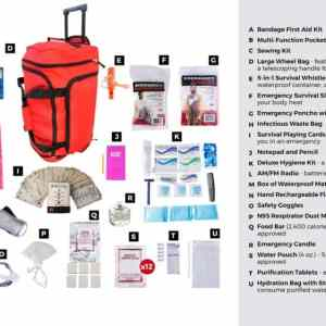 list ofAll items are packed securely in our Large Wheel Bag
