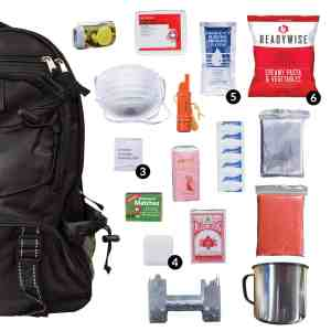 Black 64 Piece Survival Backpack