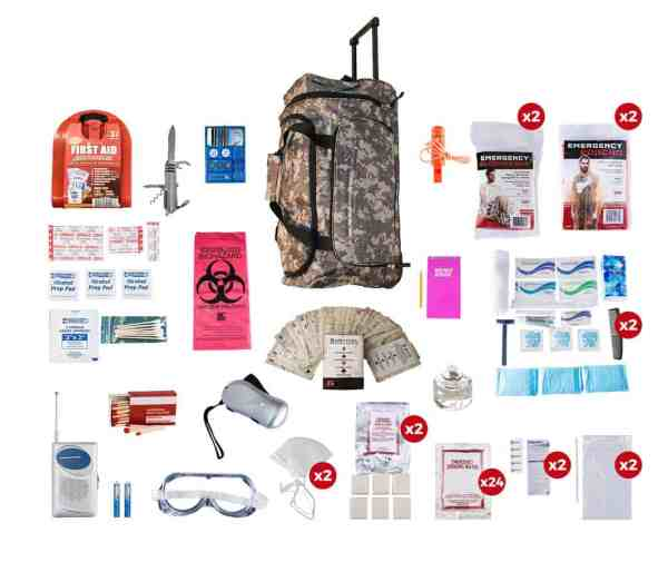 2 Person Deluxe Survival Kit (72+ Hours) camo wheel bag