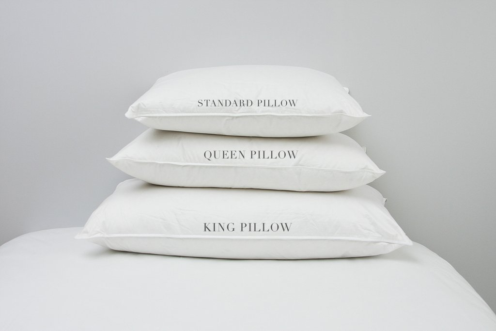 standard, king and queen pillow sizes