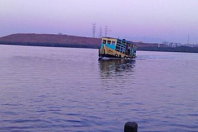 A ferry at Gorai beach, Mumbai.