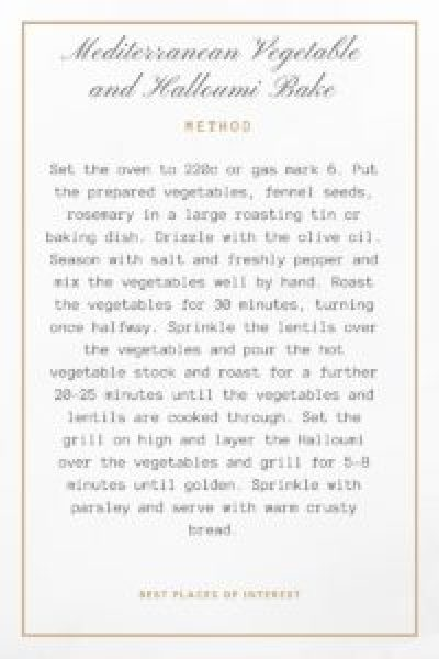 Method for Mediterranean vegetable and Halloumi cheese recipes
