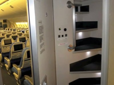 Secret stairs lead up to the cabin crew bedrooms on long haul flights