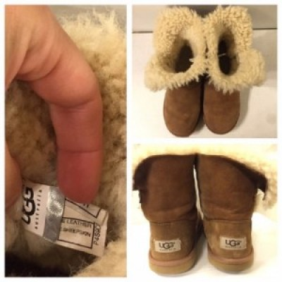Checking label on Sheepskin boots
