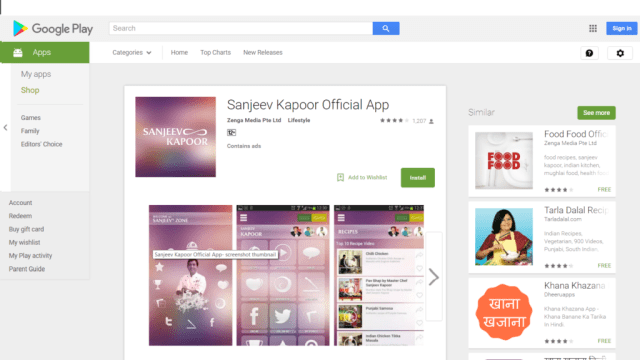 Sanjeev Kapoor App on Google Playstore