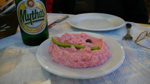 Taramasalata (that tasted of nothing) & Greek beer | by Smoobs, Greek cuisine