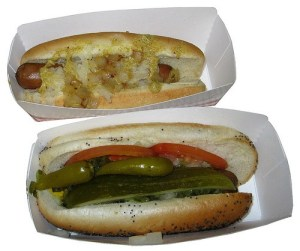 Sonic Premium Beef Hot Dogs Chicago Dog and New York Dog, street food USA