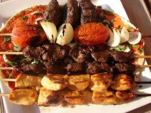 chicken shish taouk, beef kabobs and Kafta, street food Lebanon