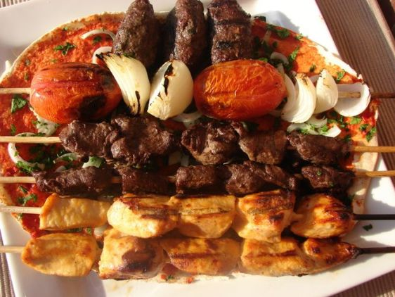 chicken shish taouk, beef kabobs and Kafta, street food Lebanon