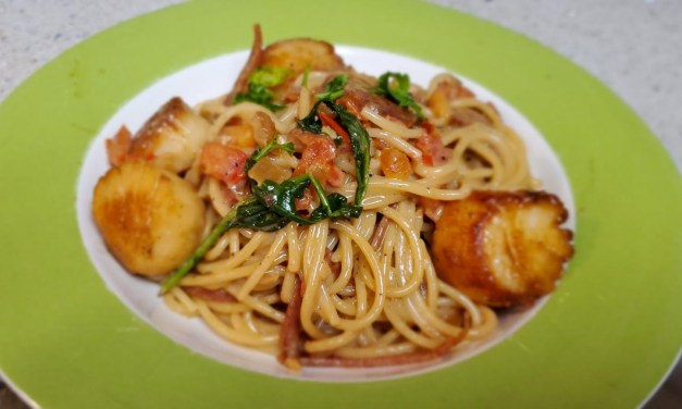 Improv Tuscan Spaghetti and Scallop Dinner
