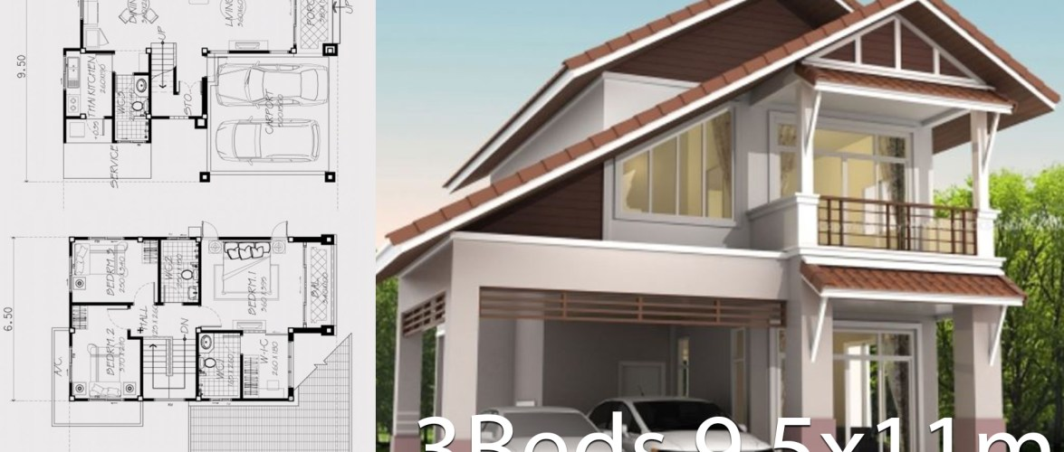 Home design plan 9.5x11m with 3 bedrooms