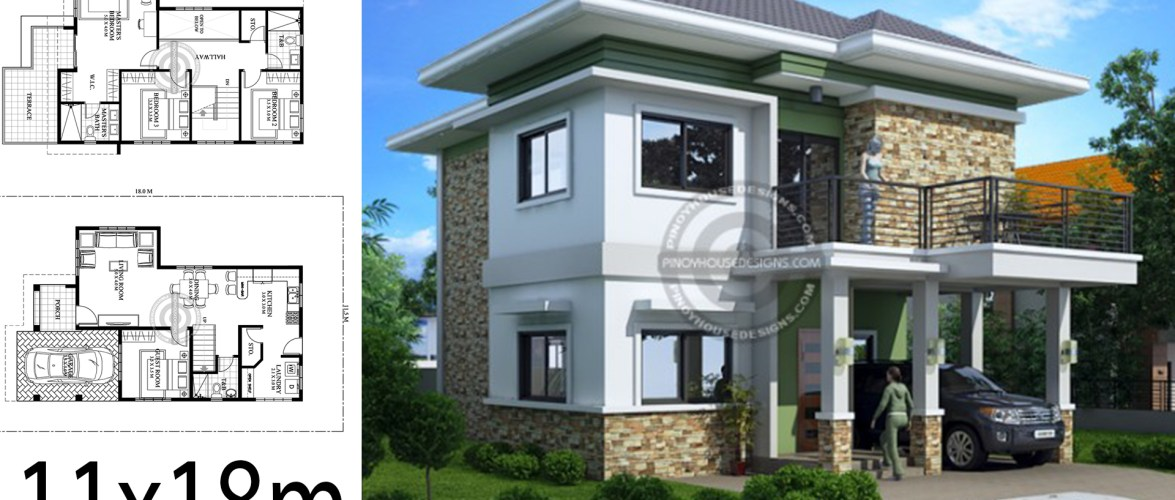 Home design plan 11x18m with 4 bedrooms