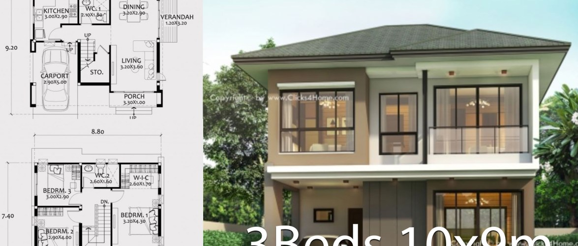 Home design plan 10x9m with 3 bedrooms