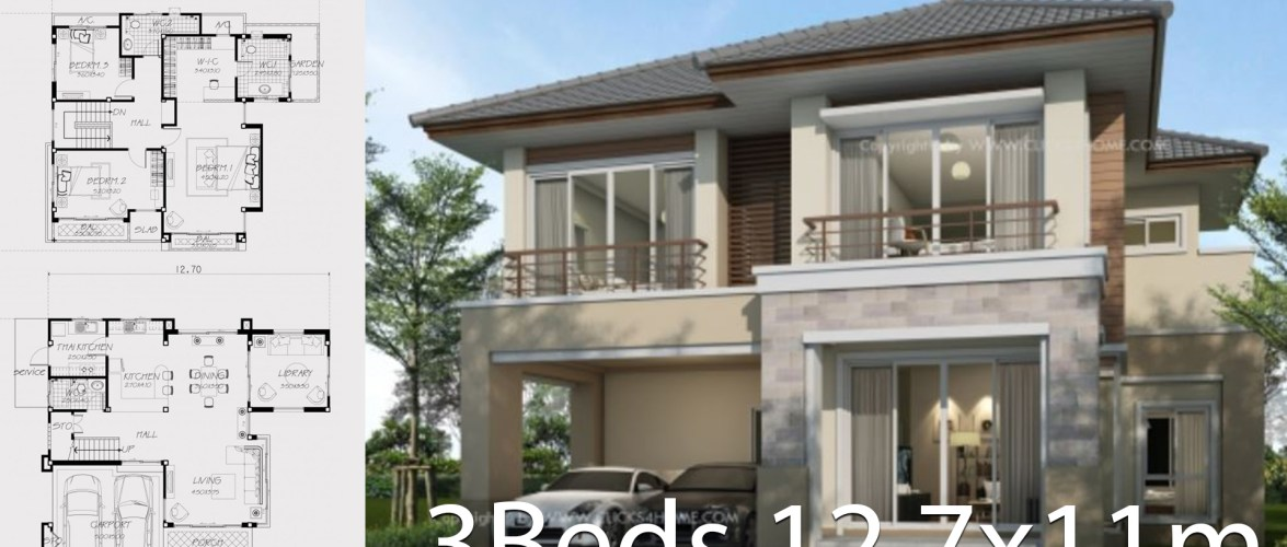 Home design plan 12.7x11m with 3 Bedrooms