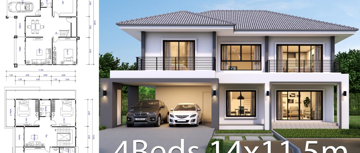 House design plan 14×11.5m with 4 bedrooms